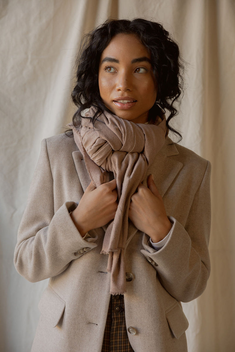 Washable Silk Blanket Scarf in Mushroom