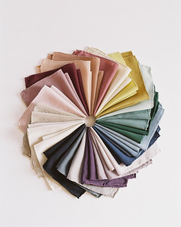 Tono + co Silk Hankie color wheel. Lovingly hand-dyed in Santa Ana, California and available in 24 signature colors. Check out our website for more color theory, styling, and wedding inspiration.