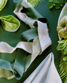 Silk ribbon collection in Forest with silk styling textile in Moss
