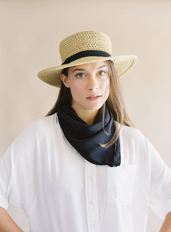 'The Classic' Washable Silk Scarf in Charcoal