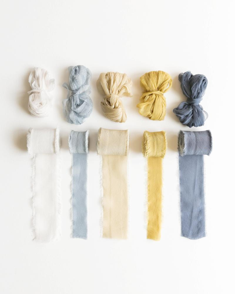 Tono + co Classic Ribbon in favorites from the Natural + Golden + Marine collections. Perfect for styling bouquets, stationary, and detail work. Lovingly hand-dyed in Santa Ana California and available in 24 signature colors. Check out our website for more color, styling, and wedding inspiration.