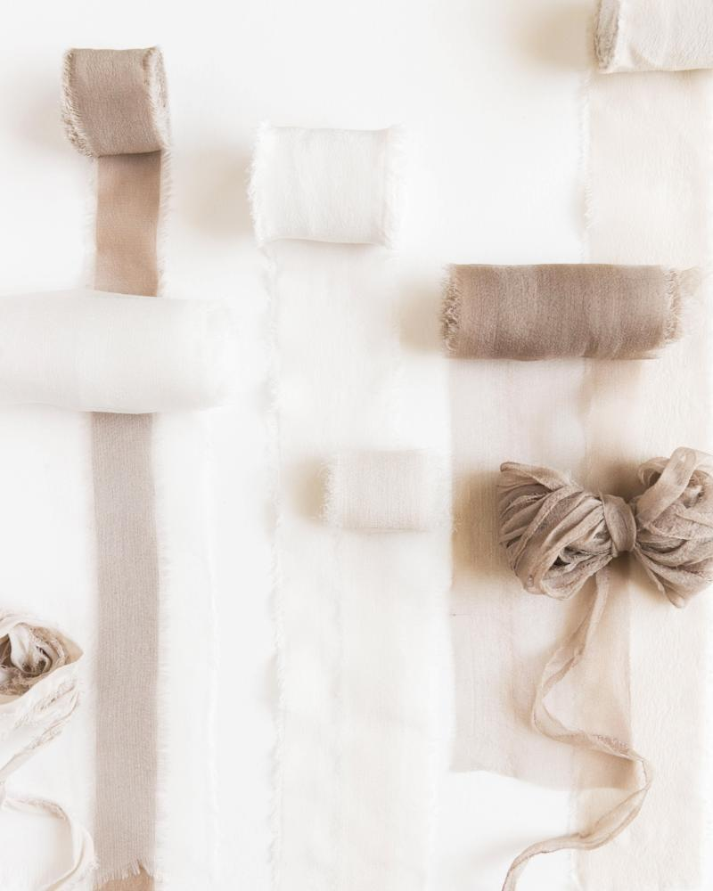 Tono + co Silk Ribbon in Classic and Gossamer bundles, featuring favorites from the Natural Collection. Lovingly hand-dyed in Santa Ana, California and available in 24 signature colors.