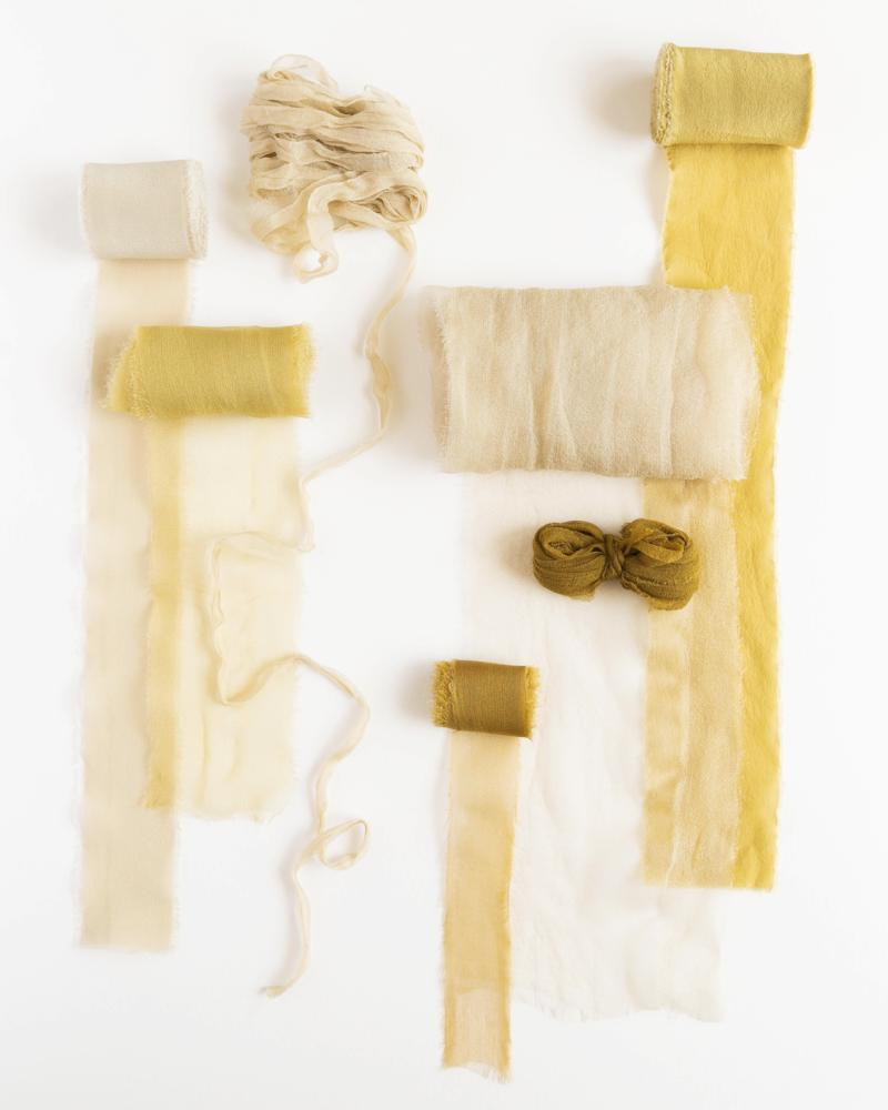 Tono + co Classic Silk and Gossamer Ribbons in the Golden Collection. Lovingly hand-dyed in Santa Ana, California and available in 24 signature colors. Check out our website for more color, styling, and bridal inspiration.