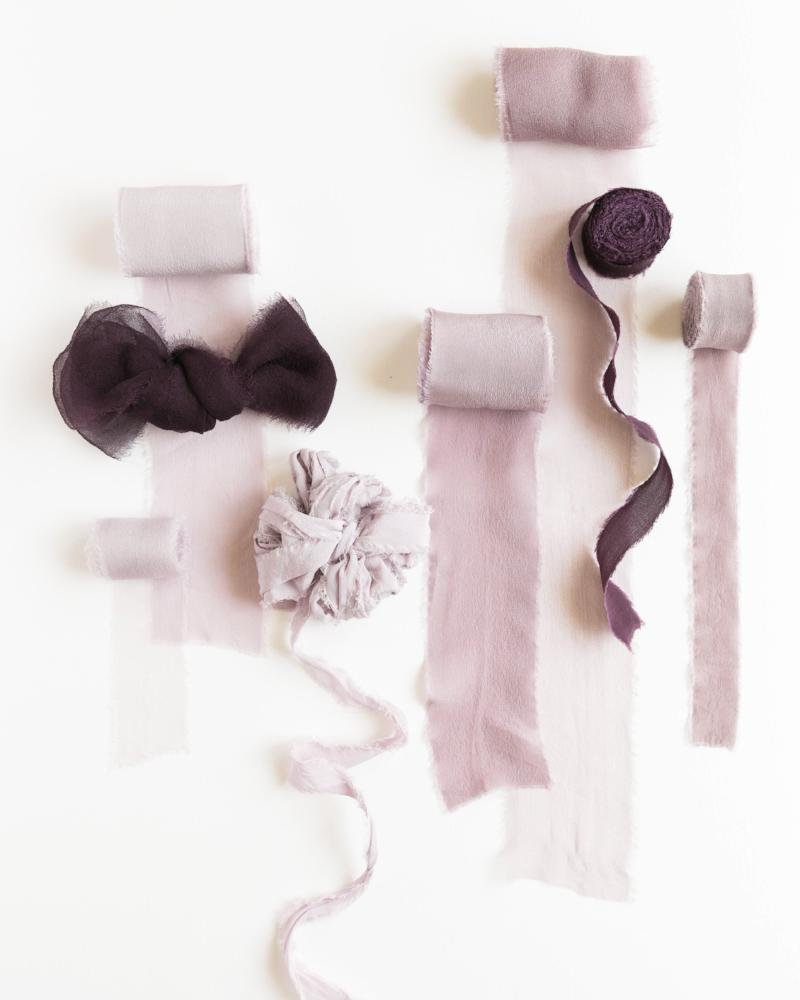 Tono + co Classic Silk Ribbon in the Lavender Collection. Lovingly hand-dyed in Santa Ana, California and available in 24 signature colors. Check out our website to view the full collection and for color, wedding, and styling inspiration.