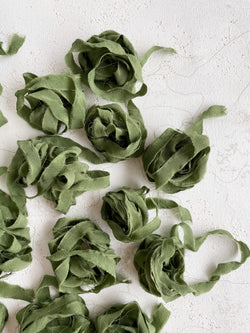 Olive Silk Ribbon Trim 026