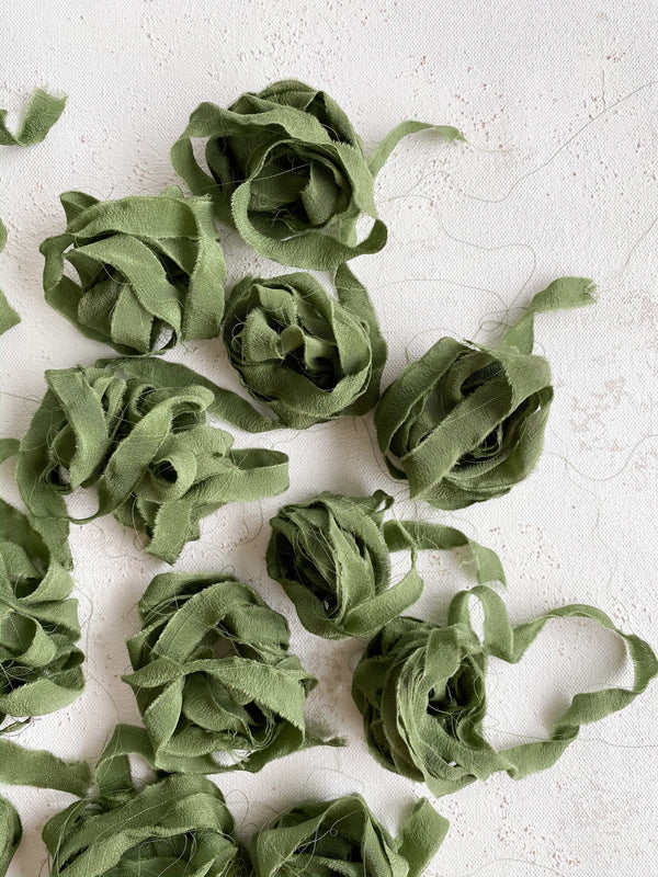 Green Silk Ribbon Trim 026