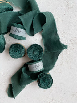 Dark Green Silk Classic Ribbon 030