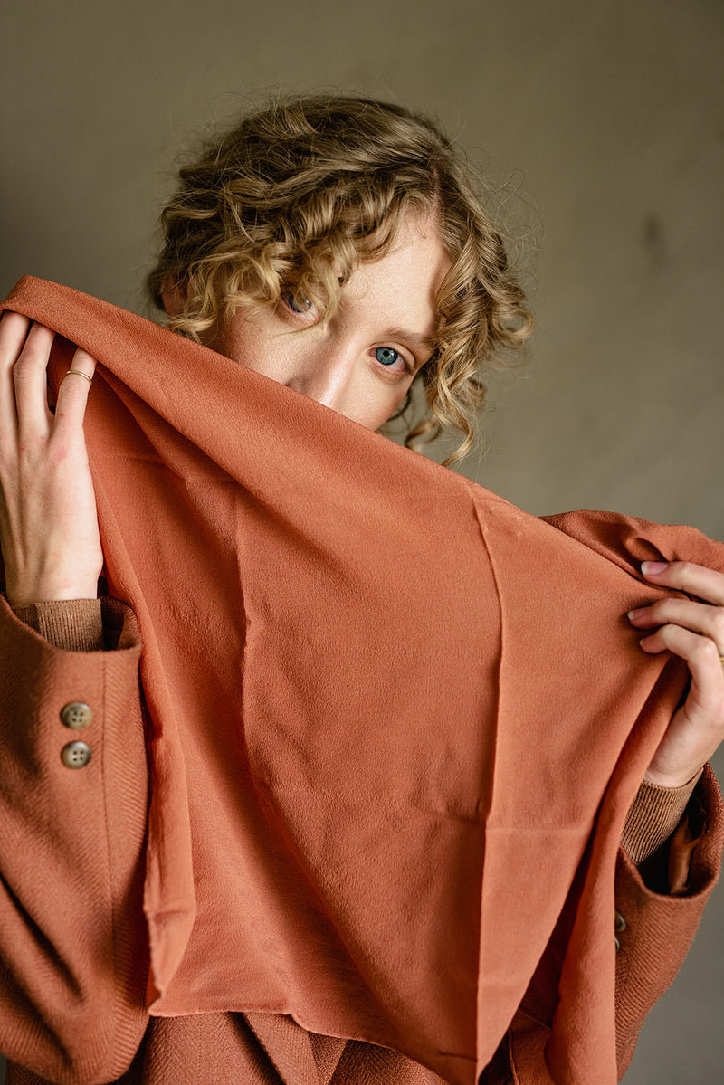 'The Classic' Washable Silk Scarf in Terra Cotta
