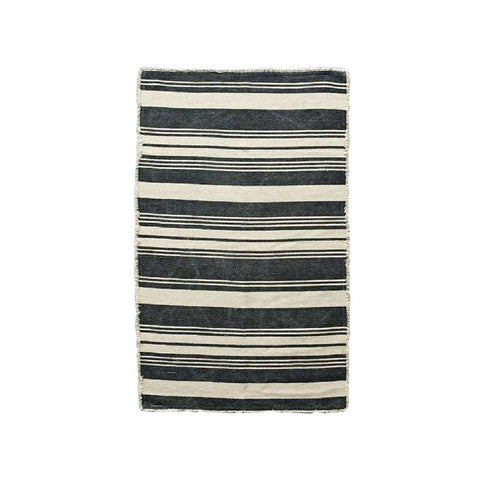 Black & Natural Striped Rug