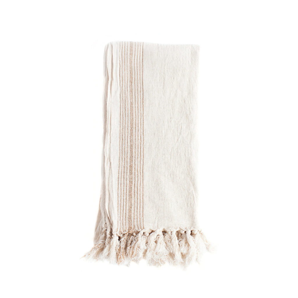 Tan Stripe Bath Towel