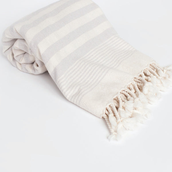 Grey Terry Stripe Bath Towel