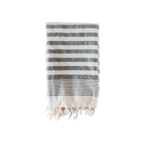 Navy Terry Stripe Bath Towel