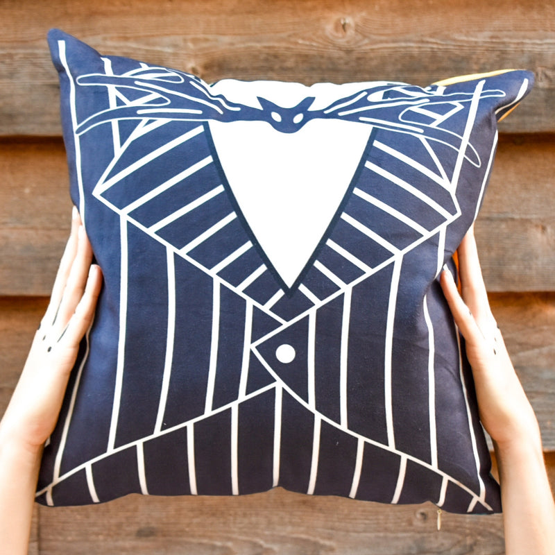 We launched our new line of pillows with the perfect pillow that will transcend from Halloween all the way to Christmas. Jack Skellington's suit is featured on one side of the removable velvet plush pillow cover.
