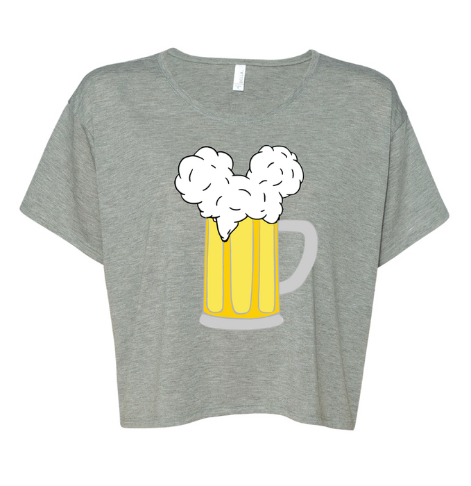 We simplified our classic Mouse Ears and Cold Beers design into this super cute, super breathable boxy tee that will be perfect for you to stay cool this summer in the park! This athletic heather cropped top is the perfect color for any skin tone.