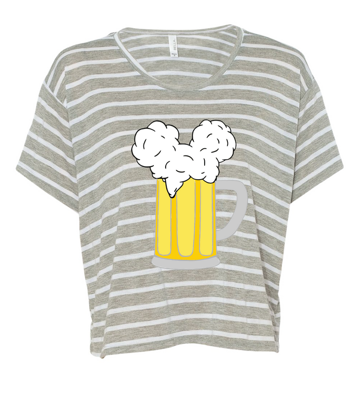 We wanted to add a little style to our Mouse Ears and Cold Beers collection. So here they are! Cropped, boxy tees with some flare - stripes! This lightweight tee is also super flowy so you will surely stay cool this summer in the parks.