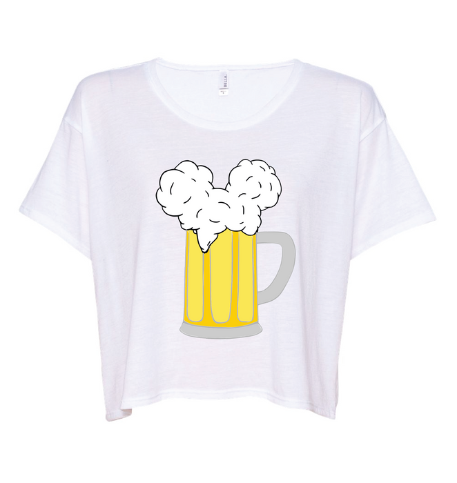 Our most requested color for our Mouse Ears and Cold Beers design was white. So not only did we know that you guys wanted to stay cool in white, but we decided to add this cropped, boxy tee to make sure you REALLY stayed cool. This style is so fashionable yet so breathable, it was the perfect addition to our Mouse Ears and Cold Beers collection.