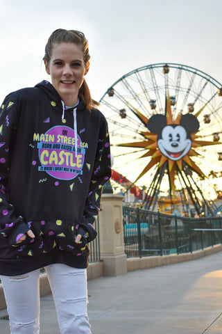 Donna from Brand By You loves taking pictures at Pixar Pier overlooking the pond because Mickey's Fun Wheel is the perfect backdrop for any picture. In this picture she is wearing the black sublimated jacket with the recolored artwork of Brand By You's popular design {and best look for 90s Nite}, Main Street Fresh. It is a Fresh Prince of Belair crossover - using the theme song rhythm and wording it to match any Disney lover's upbringing.