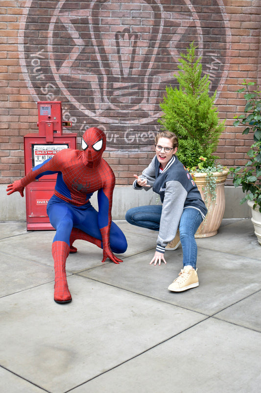 Donna from Brand By You is having so much fun meeting her favorite characters in the parks - Spiderman! He is a classic Avenge and a very fun conversationalist. He enjoyed her letterman jacket because it was an honor being on the same jacket as some the other classic Avengers.