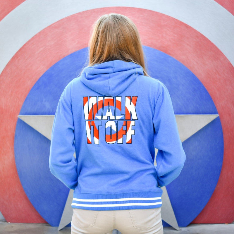 Walk It Off hooded sweatshirt is available on this unisex blue fleece pullover hoodie. The perfect backdrop is Captain America's shield.