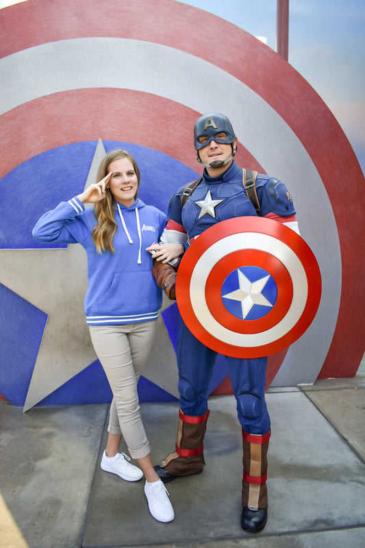 Captain America tested, Captain America approved! He loved that we incorporated one of his most iconic quote onto this blue fleece hoodie!