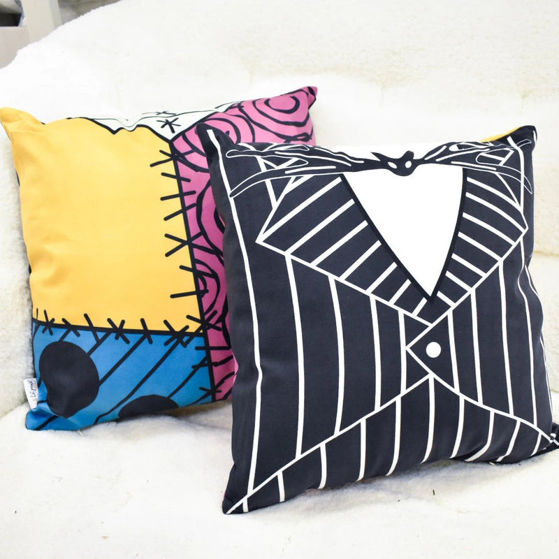 What better way to decorate your home for Halloween and Christmas this season than with accent, plush pillows featuring Jack Skellington and Sally Stitches! This two-sided pillow with add a special flare to your Disney style. Styled after the character's costumes in Nightmare Before Christmas.