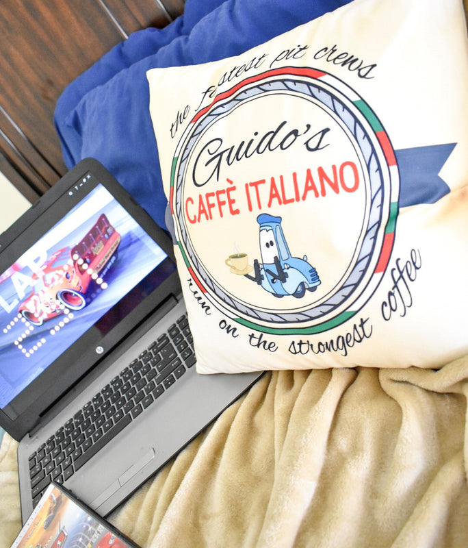 This fully printed removable velvet pillow cover features the Disney character Guido and his Italian heritage. This design is a made-up business and answers the main question of how Guido is so fast at his pit stops!