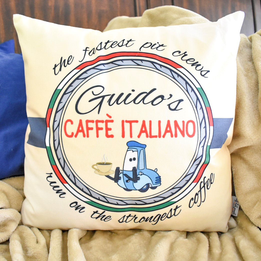 "Cars inspired throw plush pillow with Guido! This design is for the fictional coffee business of Guido's Caffe Italiano, with the catchphrase ""the fastest pit crews run on the strongest coffee""."