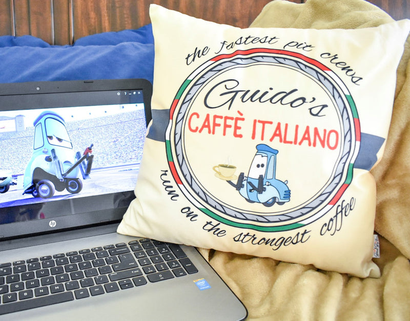 Guido's pit stops are famously fast! If you have ever wondered why, it's because of his special brand of coffee - Guido's Caffe Italiano. Inspired by his Italian heritage, this pillow will be the perfect addition to all of your Disney and coffee addiction needs!