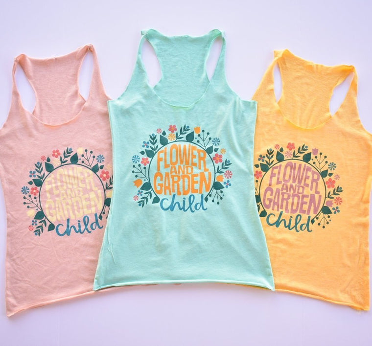 Flower & Garden Child - Triblend Racerback Tank