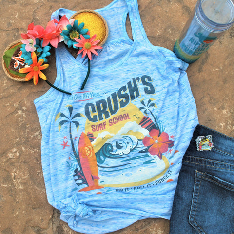 Women's flowy tank that features Crush's Surf School, an imaginary summer program where Crush and Squirt can teach you how to ride the EAC in style. Rip it, Roll it, and Punch it dude! Themed with a surf board and our favorite turtles riding the waves. This blue marbled tank will be sure to keep you cool.