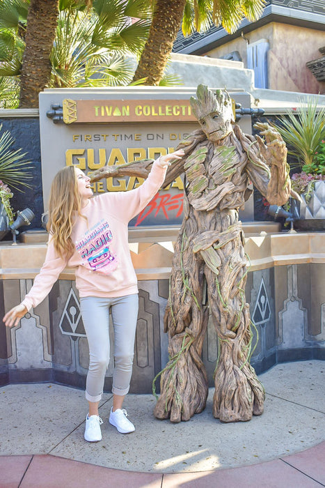 Character meet and greets at Disney are so much more fun when you have a shirt to match your experience! I was wearing my Guardians Radio sweatshirt in front of Mission Breakout to meet Groot!