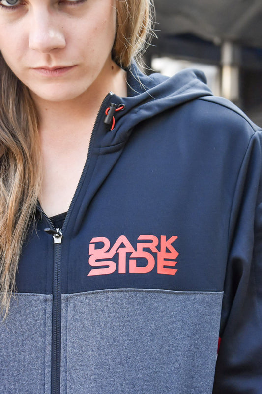 The front of our Star Wars inspired full zip up sporty jacket. It says Dark Side on the front left of the chest.