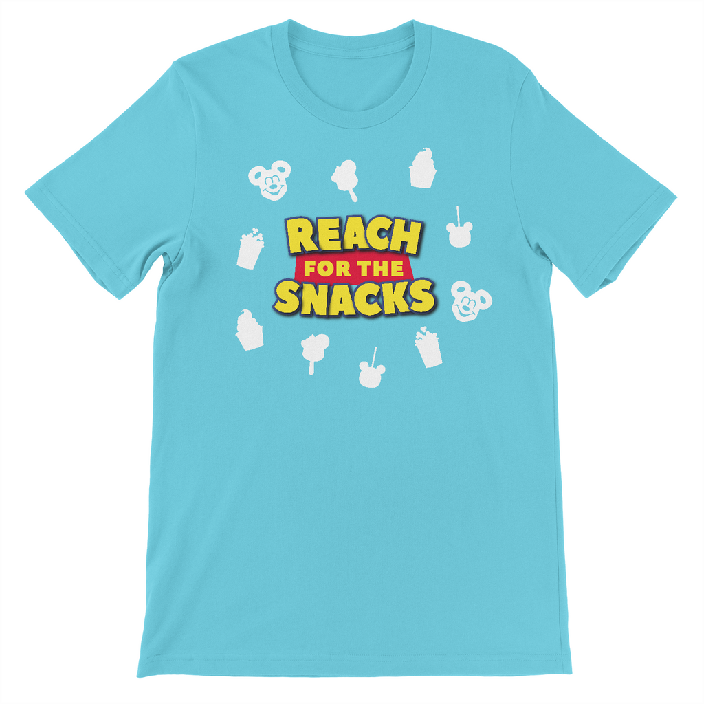 "Would you rather reach for the sky or reach for the snacks? If you are in love with all the snacks and treats at the Disney parks or if you are a 90s baby who loves Toy Story, then this is the perfect tee for you! ""Reach for the Snacks"" is styled after the font of Toy Story. And just like Andy's room with all those fluffy clouds, there are treats surrounding the words that are white. Whether you are a fan of Woody or Buzz, I think we all want to reach for some delicious snacks!"