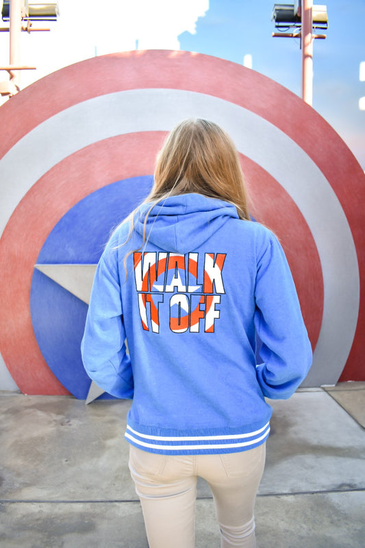 Using the backdrop of the Captain America meet and greet area is the only place to take picture of this Walk It Off, Captain America inspired hoodie.