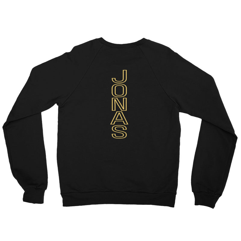 Here is a look at the back of the unisex black fleece sweatshirt with the gold thread embroidered Jonas Brothers design. The back design size may vary among ascending sizes.