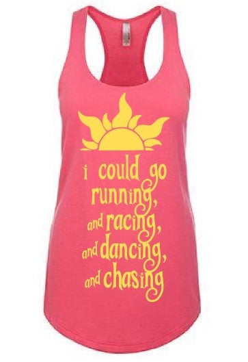 "This perfect purple or yellow triblend tank features one of the most iconic lines of the movie Tangled ""I could go running and racing and dancing and chasing"". This tank will be perfect for the parks when it starts to heat up. Not to mention it is the perfect shirt for your best day ever! Many of our customers also use it as a running shirt for their run Disney events!"