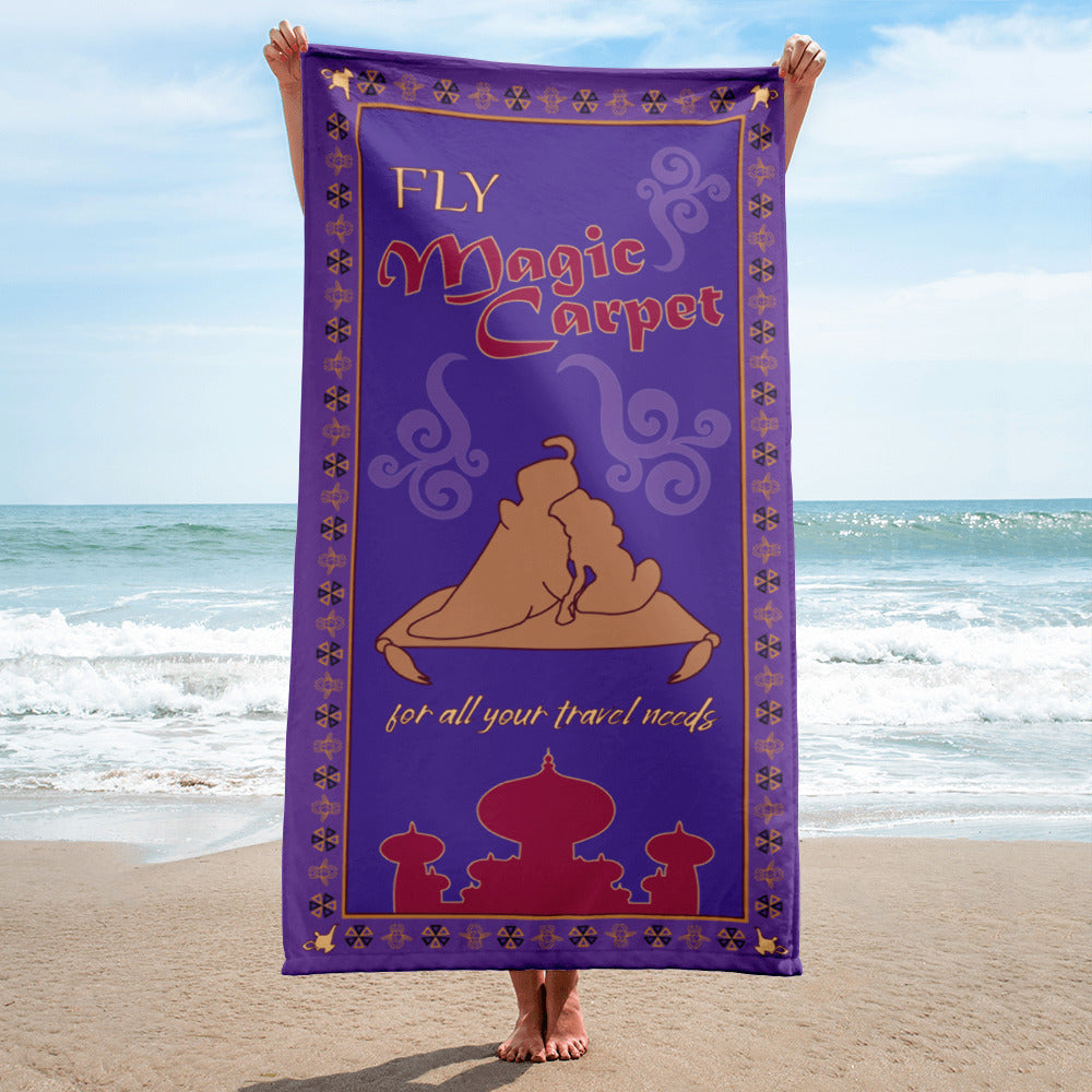 Whether you are flying to Agrabah or kicking it beach side or poolside, this beach towel will be taking you to a whole new world of comfort! We took on of our first fan favorites, Fly Magic Carpet, and revamped it just in time for the new live action Aladdin movie. We thought this towel would be the perfect addition to your summer needs as the pattern is very similar the Magic Carpet's, but with a few BBY twists and flare.