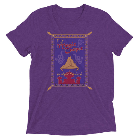 Thank you for choosing Magic Carpet for all your travel needs! A Brand By You original is back from retirement and restyled in an all new way. This new design is styled after the aesthetic of everyone's favorite carpet sidekick. The pattern adorned in the design is styled after the original Magic Carpet pattern but has different icons. Fly away to Agrabah today, and take this shirt with you!