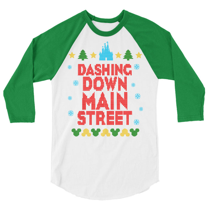 Dashing Down Main Street USA features an ugly sweater type of stitching on this unisex 3/4 sleeved baseball type of raglan. Available with green or red sleeves for maximum holiday spirit! The top of the design features a castle silhouette, Christmas trees, and stars. The bottom features mouse heads in corresponding up and down sequence. The design looks as though it was stitched directly into the garment.
