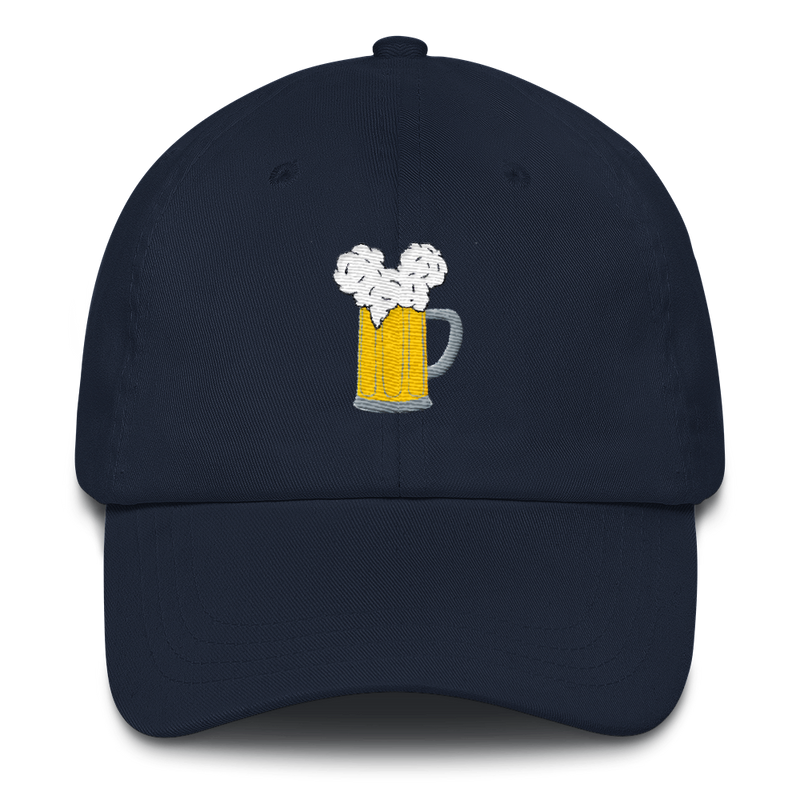 Rock the iconic Mouse Ears and Cold Beers design on this navy dad hat. It will keep the sun out of your ears while still keeping you styling for the perfect park day look. The trademarked design from Brand By You has been reduced to just show the graphic of the beer stein with the mouse ear foam.