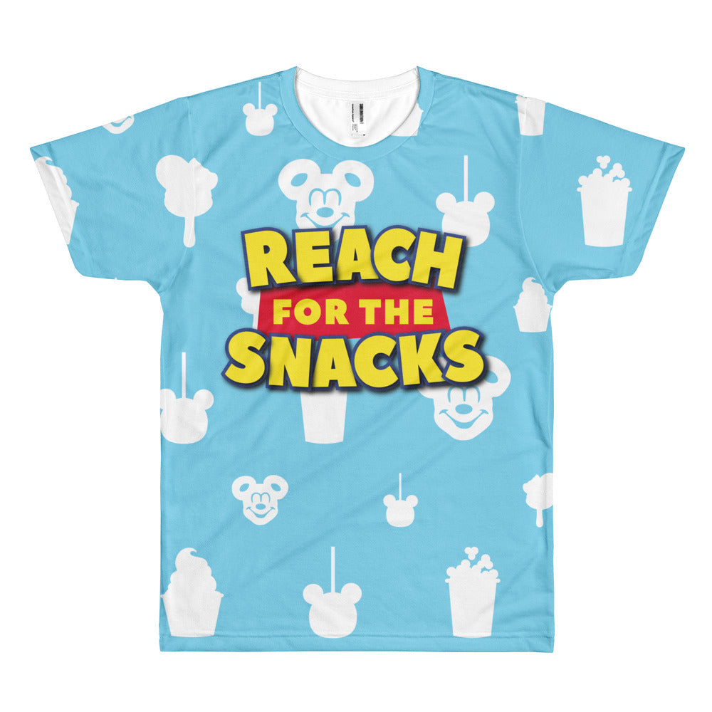 "What Woody really meant to say was ""Reach for the Snacks"" because this unisex sublimated tee is perfect for all your snacking needs! The tee is supposed to remind you of the clouds in Andy's room - but instead of clouds, it's Disney treats!"