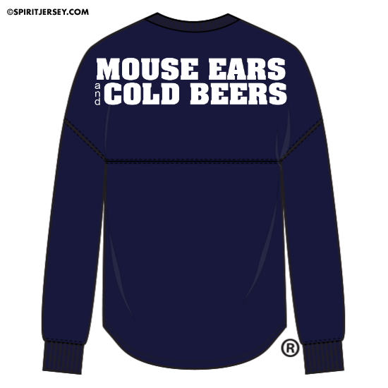 Mouse Ears and Cold Beers is a Brand By You original design and is trademarked. We have put our classic design on a custom printed classic long sleeve Spirit Jersey. This picture features both the front and back of the design. The back features the words of the design. While the front features the hand drawn beer stein that conveys mouse like ears in the foam.