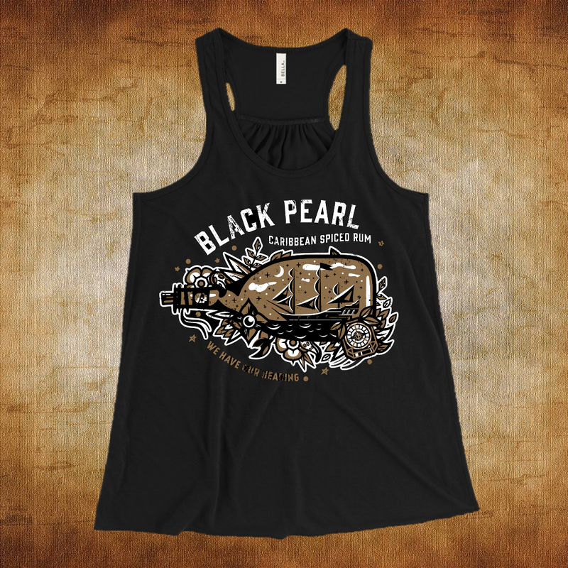 "Flowy tank in black featuring every pirate's favorite rum, Black Pearl Caribbean Spiced Rum! Jack Sparrow just can't get enough of this rum. Maybe that's why it's always gone! Shirt features the Black Pearl ship in a bottle with various Pirates of the Caribbean effects surrounding it. At the bottom is reads ""We Have Our Heading"" because Jack's compass always leads to the rum!"