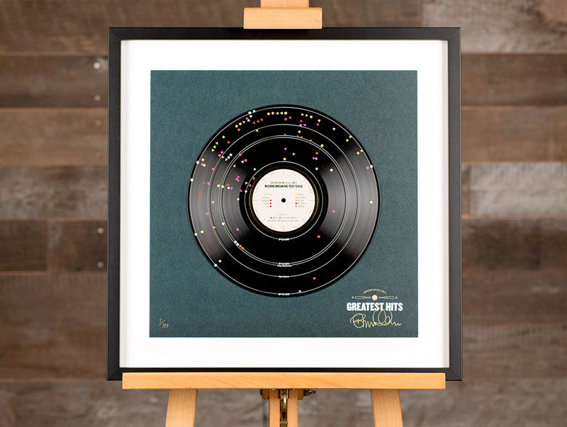This vinyl record shows each of McCullum's 107 test match sixes, or his 'Greatest Hits'.