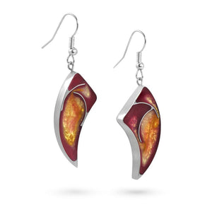 Handmade Resin Horn Fuchsia/Amber Earrings by Magpie's Loot