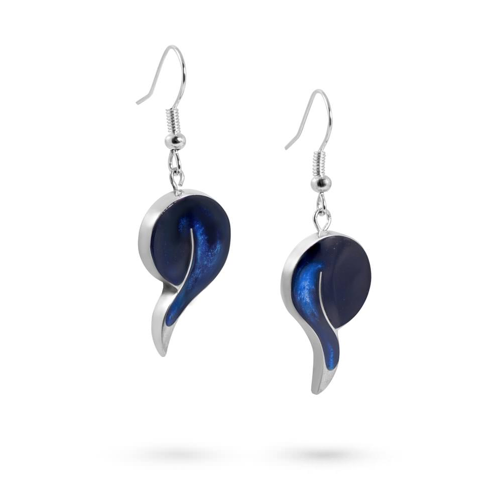 Handmade Resin Drop Blue Earrings by Magpie's Loot