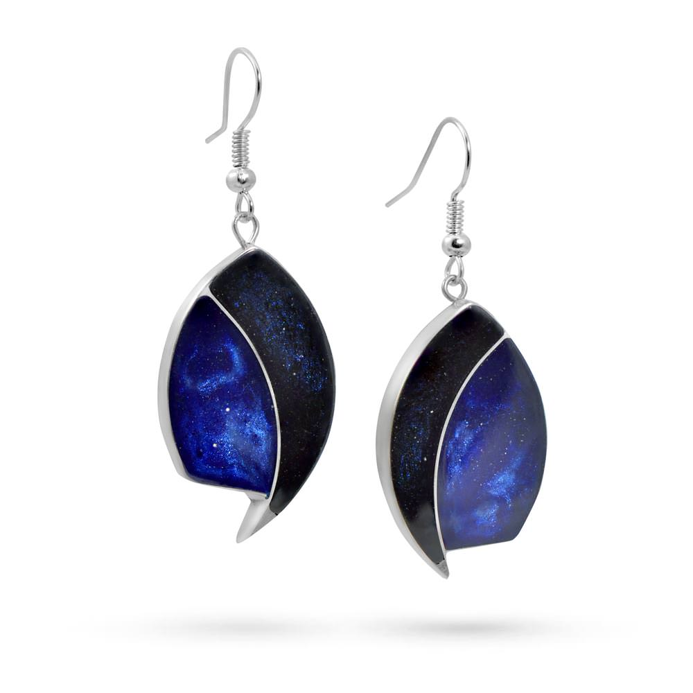 Handmade Resin Eye Shape Blue Earrings by Magpie's Loot