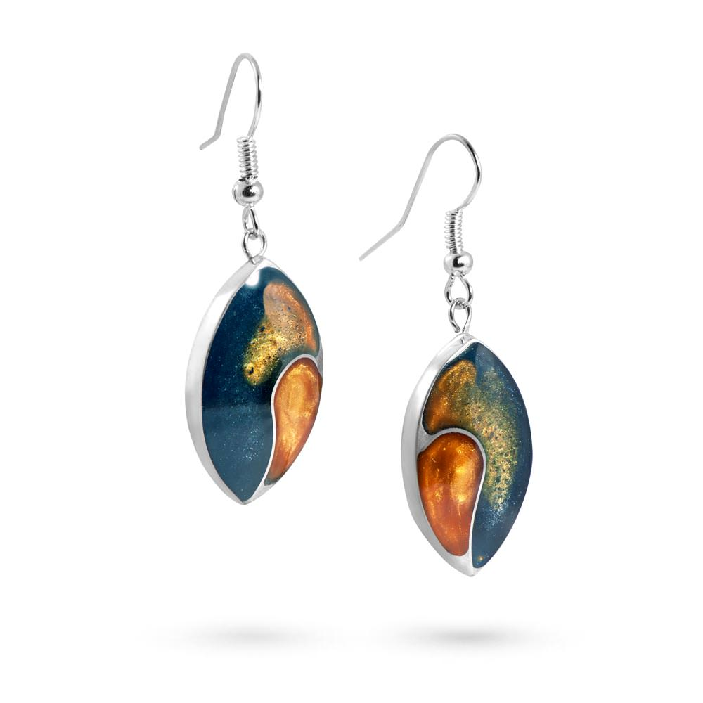 Handmade Resin Oval Teal/Amber Earrings by Magpie's Loot