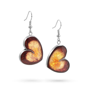 Handmade Resin Heart Red/Amber Earrings by Magpie's Loot