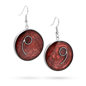 Handmade Resin Round Burgundy Earrings by Magpie's Loot